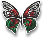 Ornate Butterfly Wings Design With Wales Welsh CYMRU Flag Motif Vinyl Car Sticker 100x85mm